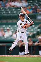 Baltimore Orioles center fielder Mike Yastrzemski (75) at bat during a Grapefruit League Spring Training game against the Tampa Bay Rays on March 1, 2019 at Ed Smith Stadium in Sarasota, Florida.  Rays defeated the Orioles 10-5.  (Mike Janes/Four Seam Images)