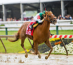 BALTIMORE, MD, -  MAY 18: Happy Like a Fool, #1, ridden by Tyler Gaffalione, wins the Adena Springs Miss Preakness at Pimlico Racecource on May 18, 2018 in Baltimore, Maryland. (Photo by Sue Kawczynski/Eclipse Sportswire/Getty Images)