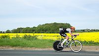 26 MAY 2013 - BRIGG, GBR - Stefan Teichert (Elite 23-39) of SG Poseiden Eppelheim / WSC Heidelberg leads the bike during the 2013 Brigg Bomber Quadrathlon, a World Quadrathlon Federation World Cup round and the British Championships, held in Brigg, Lincolnshire, Great Britain (PHOTO (C) 2013 NIGEL FARROW)