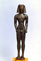 Greek Art:  Statuette of a Kouros, around 620 B.C.  Greek Ministry of Culture, Athens.