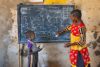 AWright_SUD_001661.jpg<br /> South Sudan<br /> Margaret Sunday lives close to the Hai Kugi School, in Juba, where she teaches. She was trained by BRAC in early childhood education and now teaches a class of about 30 students, mostly girls, all of whom could not afford to go to government schools. BRAC's education program offers children left behind a second chance at learning.