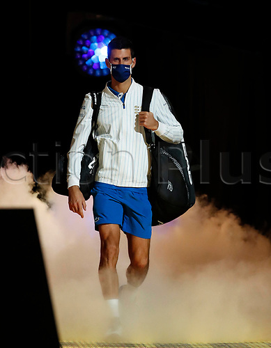 18th November 2020, O2, London, England; Novak Djokovic of Serbia enters the court before the singles group match against Daniil Medvedev of Russia at the ATP  finals in London