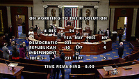 Final vote tally from US House TV on H. Res. 24, the US House Impeachment resolution in the US Capitol in Washington, DC on Wednesday, January 13, 2021.  This is the second time the US House has impeached United States President Donald J. Trump.<br /> Credit: US House TV via CNP /MediaPunch