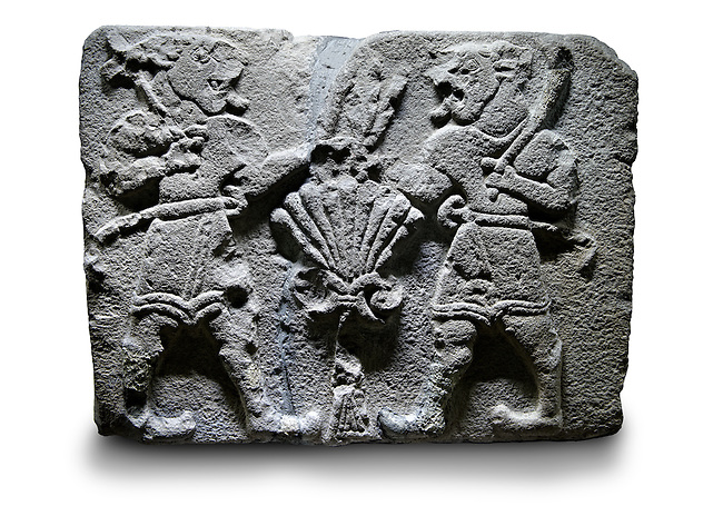 Picture & image of a Neo-Hittite orthostat with a releif sculpture of Lion Men  from Aslantepe ,  Malatya, Turkey. Ancora Archaeological Museum.  5