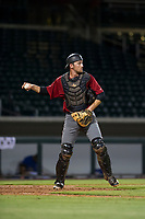 AZL Diamondbacks catcher Zachery Almond (49) on defense against the AZL Cubs on August 11, 2017 at Sloan Park in Mesa, Arizona. AZL Cubs defeated the AZL Diamondbacks 7-3. (Zachary Lucy/Four Seam Images)