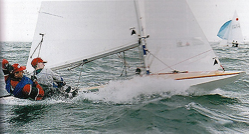 David O'Brien and John Lavery on their way to winning the Fireball Worlds in Dublin Bay, September 1995