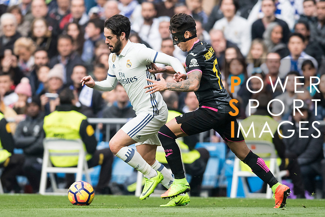 Isco Alarcon of Real Madrid  fights for the ball with Hernan Perez of RCD Espanyol  during the match Real Madrid vs RCD Espanyol, a La Liga match at the Santiago Bernabeu Stadium on 18 February 2017 in Madrid, Spain. Photo by Diego Gonzalez Souto / Power Sport Images