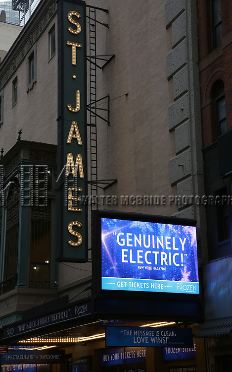 """Theatre Marquee unveiling for """"Frozen"""" starring Cassie Levy at the St. James Theatre on February 18, 2019 in New York City."""