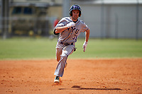 New York University Violets designated hitter Bobby Moskow (33) running the bases during a game against the Edgewood Eagles on March 14, 2017 at Terry Park in Fort Myers, Florida.  NYU defeated Edgewood 12-7.  (Mike Janes/Four Seam Images)