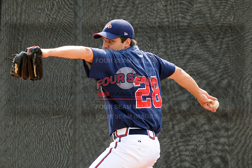 July 15, 2009: RHP David Hale (28) of the Danville Braves, rookie Appalachian League affiliate of the Atlanta Braves, prior to a game at Dan Daniel Memorial Park in Danville, Va. Photo by:  Tom Priddy/Four Seam Images