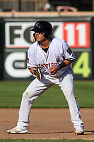 Wisconsin Timber Rattlers outfielder Jesus Lujano (18) leads off of first base during a game against the West Michigan Whitecaps on May 22, 2021 at Neuroscience Group Field at Fox Cities Stadium in Grand Chute, Wisconsin.  (Brad Krause/Four Seam Images)