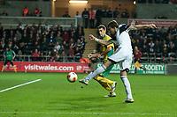 Thursday 24 October 2013  <br /> Pictured: Michu  takes a shot at goal <br /> Re:UEFA Europa League, Swansea City FC vs Kuban Krasnodar,  at the Liberty Staduim Swansea