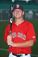 GCL Red Sox catcher Jon Denney (50) poses for a photo after a game against the GCL Twins on July 19, 2013 at JetBlue Park at Fenway South in Fort Myers, Florida.  GCL Red Sox defeated the GCL Twins 4-2.  (Mike Janes/Four Seam Images)