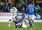 St Johnstone v Celtic...07.05.14    SPFL<br /> Mikael Lustig brings down Stevie May<br /> Picture by Graeme Hart.<br /> Copyright Perthshire Picture Agency<br /> Tel: 01738 623350  Mobile: 07990 594431