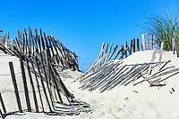 Weathered wind fence along a beach path helps fight wind drift and dune erosion, Truro, Cape Cod, Massachusetts, USA