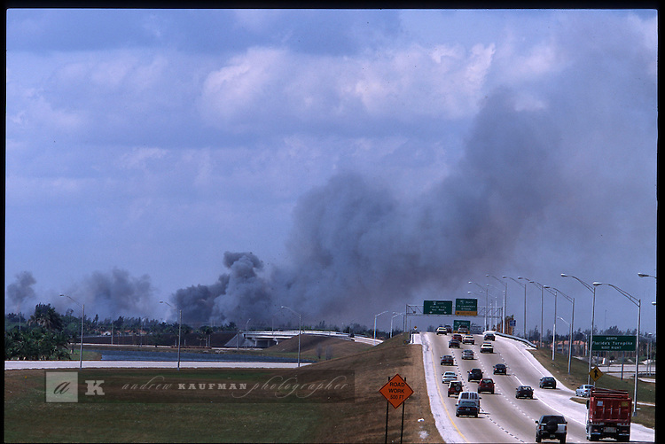 3-1-01.On the turnpike extension in west Miami-Dade a wildfire burns out in the Everglades is clearly visible.
