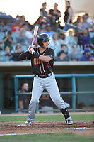 Jay Baum (12) of the Modesto Nuts bats against the Lancaster JetHawks at The Hanger on May 11, 2017 in Lancaster, California. Lancaster defeated Modesto, 6-0. (Larry Goren/Four Seam Images)