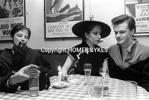 Covent Garden, London. 1980 <br /> The popular press coined the term Blitz Kids for these New Romantics at the Blitz club.<br /> <br /> (L-R) Mandy D'Witt, Anna and Paul.