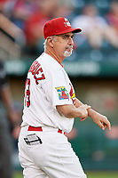 Springfield Cardinals manager Johnny Rodriguez (18) calls for a pitching change as he walks to the mound during a game against the Corpus Christi Hooks on May 30, 2017 at Hammons Field in Springfield, Missouri.  Springfield defeated Corpus Christi 4-3.  (Mike Janes/Four Seam Images)
