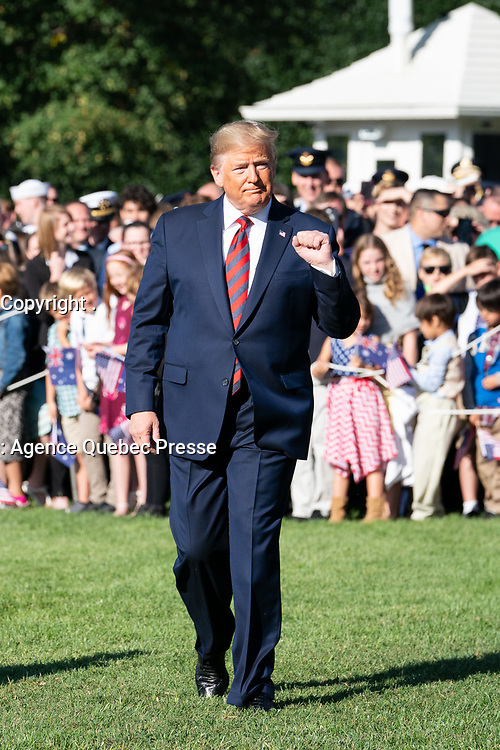 President Donald J. Trump and Australian Prime Minister Scott Morrison greet guests during the State Visit along a rope line Friday, Sept. 20, 2019, on the South Lawn of the White House. (Official White House Photo by Tia Dufour)