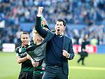 Nederland, Rotterdam, 3 mei 2015<br /> KNVB Bekerfinale<br /> Seizoen 2014-2015<br /> PEC Zwolle-FC Groningen<br /> Erwin van de Looi, trainer-coach van FC Groningen balt zijn vuist na afloop van de wedstrijd