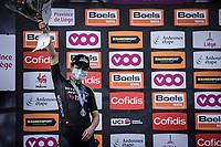 podium with 2nd place finisher Grace Brown (AUS/Mitchelton-Scott)<br /> <br /> 4th Liège-Bastogne-Liège-Femmes 2020 (1.WWT)<br /> 1 Day Race: Bastogne – Liège 135km<br /> <br /> ©kramon