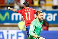 Spain's Vitolo celebrates goal in presence of Liechtenstein's Peter Jehle dejected during FIFA World Cup 2018 Qualifying Round match. September 5,2016.(ALTERPHOTOS/Acero) /NORTEPHOTO