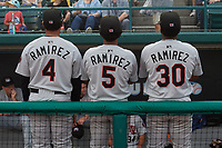 Tri-City ValleyCats Yeuris Ramirez (4), Juan Ramirez (5), and Manny Ramirez (30) in the dugout for a fog delay during a NY-Penn League game against the Brooklyn Cyclones on August 17, 2019 at MCU Park in Brooklyn, New York.  Brooklyn defeated Tri-City 2-1.  (Mike Janes/Four Seam Images)