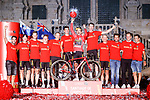 3 times Vuelta Red Jersey winnwr Primoz Roglic (SLO) Jumbo-Visma on the podium with his team mates at the end of Stage 21 the final stage of La Vuelta d'Espana 2021, an individual time trial running 33.8km from Padron to Santiago de Compostela, Spain. 5th September 2021.    <br /> Picture: Luis Angel Gomez/Photogomezsport | Cyclefile<br /> <br /> All photos usage must carry mandatory copyright credit (© Cyclefile | Luis Angel Gomez/Photogomezsport)