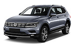 2018 Volkswagen Tiguan Allspace Highline 5 Door SUV angular front stock photos of front three quarter view