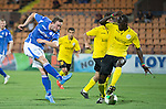 Alashkert FC v St Johnstone...02.07.15   Republican Stadium, Yerevan, Armenia....UEFA Europa League Qualifier.<br /> Chris Kane's shot is saved by the keeper<br /> Picture by Graeme Hart.<br /> Copyright Perthshire Picture Agency<br /> Tel: 01738 623350  Mobile: 07990 594431