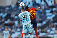 SAINT PAUL, MN - APRIL 24: Romain Metanire #19 of Minnesota United FC and Anderson Julio #29 of Real Salt Lake battle for the ball during a game between Real Salt Lake and Minnesota United FC at Allianz Field on April 24, 2021 in Saint Paul, Minnesota.