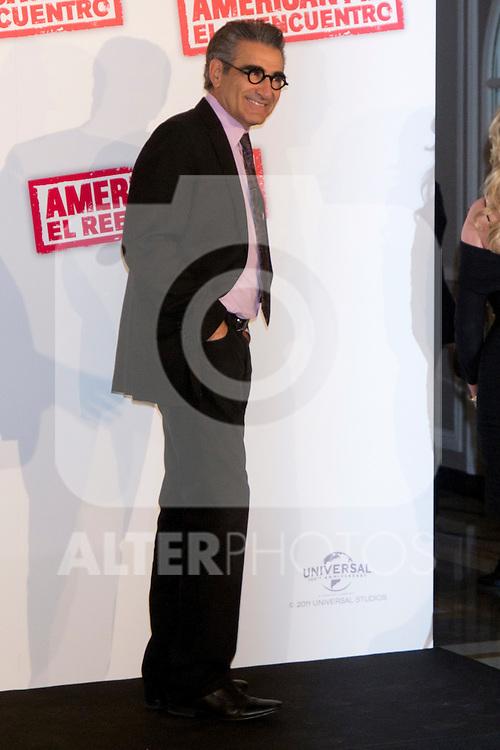"19.04.2012. Presentation Photocall at the Hotel Villamagna in Madrid of ""American Pie. The Reunion"" with actors Jason Biggs (Jim), Sean William Scott (Stifler), Chris Klein (Oz), Mena Suvari (Heather), Eugene Levy (Jim's father) and Jennifer Coolidge (Stifler's Mother) and directors John Hurwitz and Hayden Schlossberg. In the picture: Eugene Levy (Alterphotos/Marta Gonzalez)"