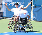 Toronto, Ontario, August 12, 2015.Philippe Bedard and Joel Dembe celebrate their win in the Wheelchair tennis bronze medal game during the 2015 Parapan Am Games . Photo Scott Grant/Canadian Paralympic Committee