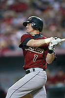 Craig Biggio of the Houston Astros during a game from the 2007 season at Angel Stadium in Anaheim, California. (Larry Goren/Four Seam Images)