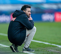 13th April 2021; The John Smiths Stadium, Huddersfield, Yorkshire, England; English Football League Championship Football, Huddersfield Town versus Bournemouth; Carlos Corberan deep in thought as his team are losing 2-0