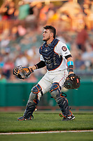 Tri-City ValleyCats catcher Oscar Campos (2) during a game against the Vermont Lake Monsters on June 16, 2018 at Joseph L. Bruno Stadium in Troy, New York.  Vermont defeated Tri-City 6-2.  (Mike Janes/Four Seam Images)