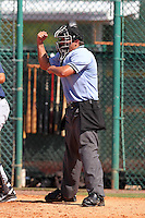 Home plate umpire Evan Barger makes a call during an Instructional League game between the Atlanta Braves and Pittsburgh Pirates at Pirate City on October 14, 2011 in Bradenton, Florida.  (Mike Janes/Four Seam Images)