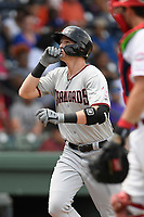 Sam Huff (25) of the Hickory Crawdads crosses the plate after hitting his 12th home run of the season in a game against the Greenville Drive on Tuesday, April 30, 2019, at Fluor Field at the West End in Greenville, South Carolina. Hickory won, 5-4. (Tom Priddy/Four Seam Images)
