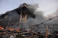 Trade union building facing Maidan square is burning into flames.  Kiev, Ukraine