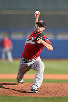Frisco Rough Riders pitcher Ryan Rodebaugh (20) delivers a pitch during the first game of a doubleheader against the Tulsa Drillers on May 29, 2014 at ONEOK Field in Tulsa, Oklahoma.  Frisco defeated Tulsa 13-4.  (Mike Janes/Four Seam Images)