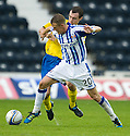 KILMARNOCK'S DEAN SHIELS HOLDS OFF ST JOHNSTONE'S DAVID ROBERTSON