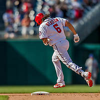 30 April 2017: Washington Nationals third baseman Anthony Rendon rounds the bases after hitting his third homer, notching his 10th RBI of the day, in the 8th inning against the New York Mets at Nationals Park in Washington, DC. The Nationals defeated the Mets 23-5, with the Nationals setting several individual and team records, in the third game of their weekend series. Mandatory Credit: Ed Wolfstein Photo *** RAW (NEF) Image File Available ***