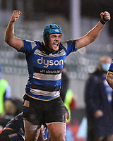 19th February 2021; Recreation Ground, Bath, Somerset, England; English Premiership Rugby, Bath versus Gloucester; Zach Mercer of Bath celebrates the final whistle with Bath winning 16-14
