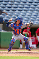 St. Lucie Mets catcher Matt O'Neill (5) throws down to third base in between innings during a game against the Clearwater Threshers on July 1, 2021 at BayCare Ballpark in Clearwater, Florida.  (Mike Janes/Four Seam Images)