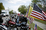 April 15, 2008. Wallace, NC..Funeral services were held for National Guard Staff Sgt. Emanuel Pickett at the 1st Baptist Church in Wallace, NC., where he was a police officer.. SSgt. Pickett was killed on April 6, 2008 in Baghdad, Iraq by indirect enemy fire. He was assigned to the 1132nd Military Police Company, North Carolina Army National Guard, Rocky Mount, N.C. and is the 8th North Carolina National Guard soldier killed in the wars in Iraq and Afghanistan..  Big John Albright, a member of the Patriot Guard, a motorcycle group that escorts the remains of soldiers and protects the families from protesters, waits across form the  church as mourners arrive.