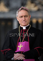Monsignor Georg Gaenswein,Pope Francis during his weekly general audience in St. Peter square at the Vatican, Wednesday. 3 April 2013
