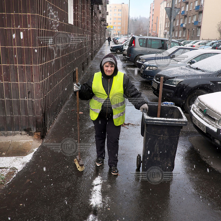 Helenka (55) a municipal street cleaner who has cleaned the streets for five years.