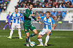 Kevin Rodrigues of CD Leganes and Esteban Granero of RCD Espanyol during La Liga match between CD Leganes and RCD Espanyol at Butarque Stadium in Leganes, Spain. December 22, 2019. (ALTERPHOTOS/A. Perez Meca)
