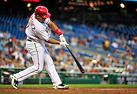 21 June 2010: Washington Nationals' catcher Ivan Rodriguez at bat against the Kansas City Royals at Nationals Park in Washington, DC. The Nationals edged out the Royals 2-1 in the first game of their 3-game interleague series, snapping a 6-game losing streak. Mandatory Credit: Ed Wolfstein Photo